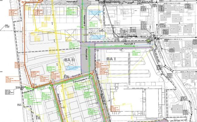 Lageplan Leitungen, Kanäle Papierfabrik Gemmrigheim